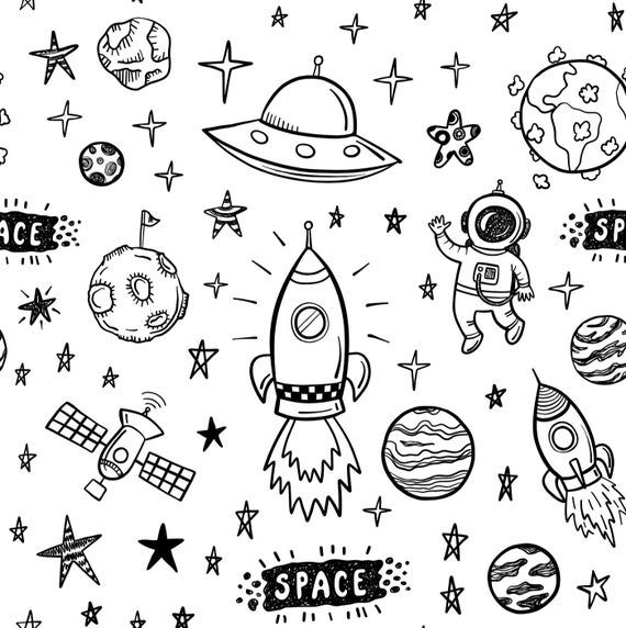 Removable Wallpaper Black And White Space Self Adhesive Etsy Space Doodles Space Drawings Removable Wallpaper