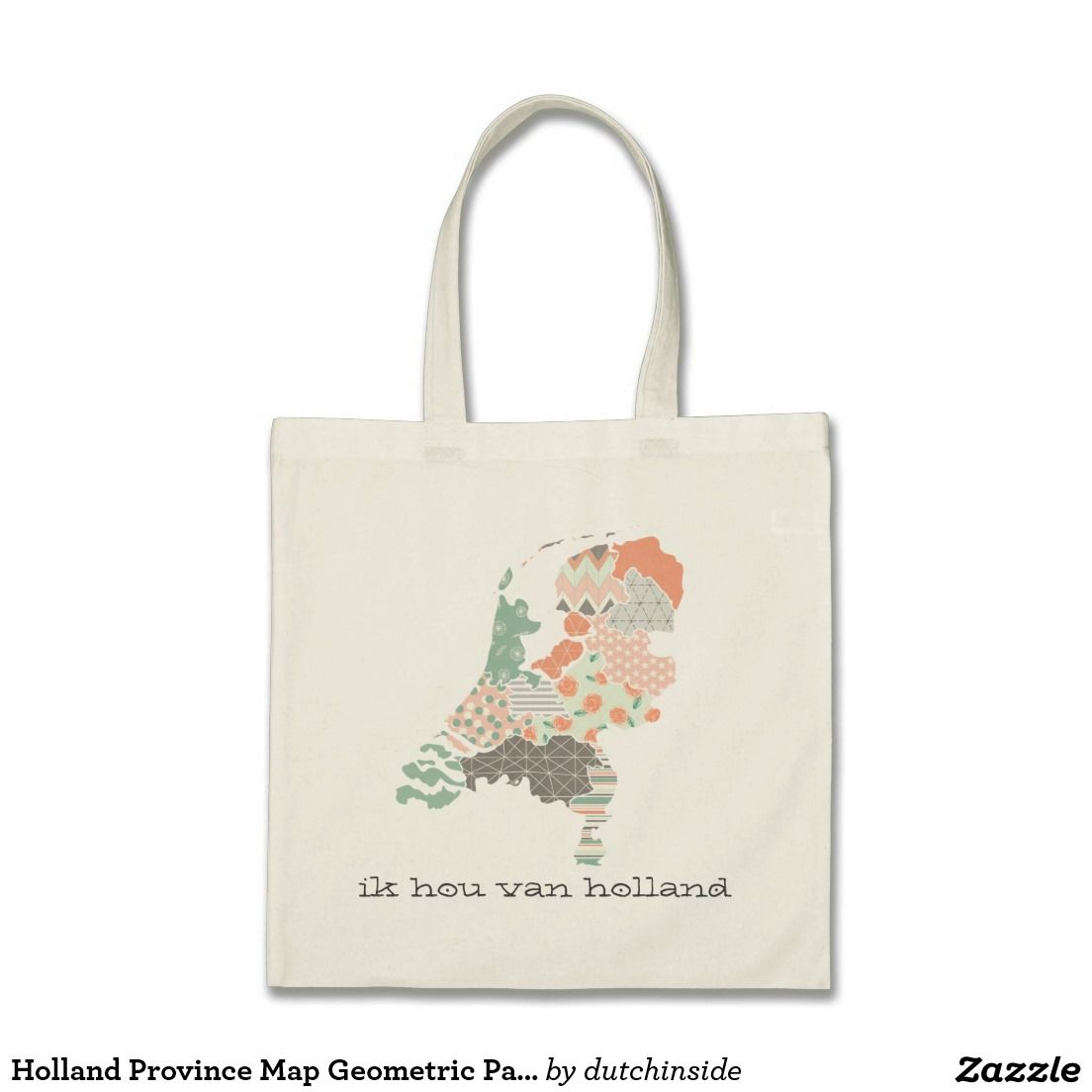 Holland Province Map Geometric Patchwork Style Tote Bag by @DutchInside on @zazzle