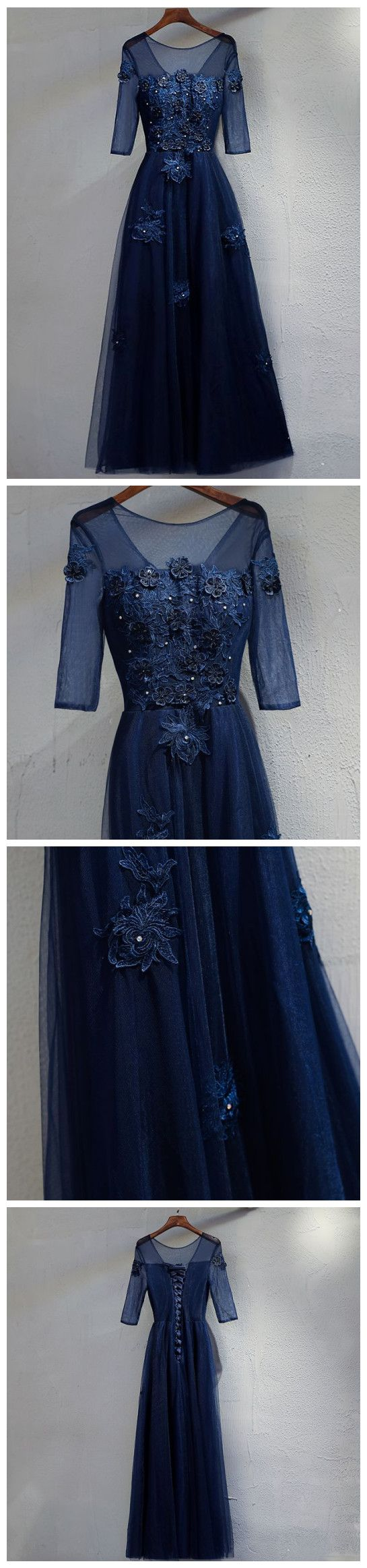 Dark navy prom dresses long aline half sleeve beautiful prom dress