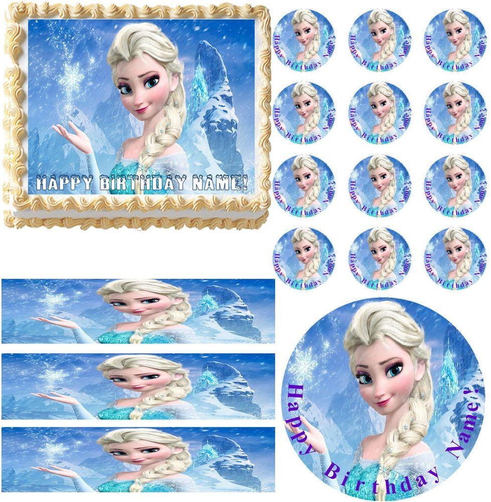 Frozen Elsa Edible Cake Topper Image Cupcakes Cake