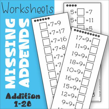 Missing Addend Addition to 20 Worksheets | Math resources ...
