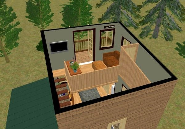 The Cozy Cube Tiny House With A Balcony From Cozy Home Plans Cozy House Cottage Floor Plans Tiny House