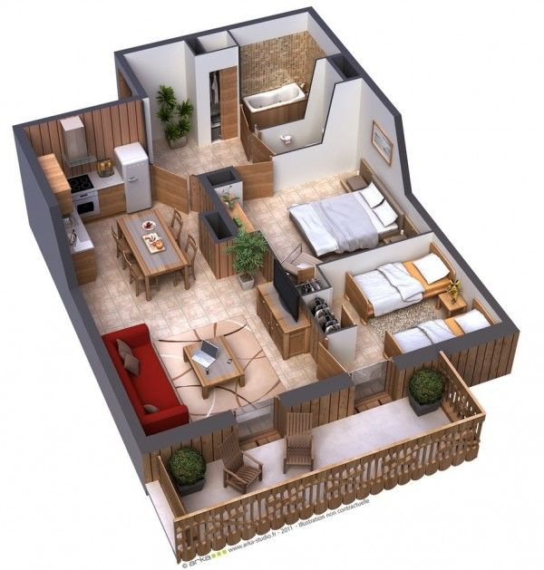 25 Two Bedroom House/Apartment Floor Plans | Planta 3d de ...