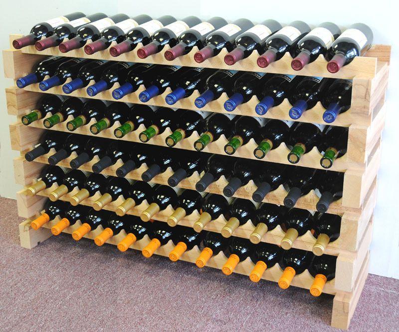 Modular wine rack 72 bottles 6 rows solid beachwood wine