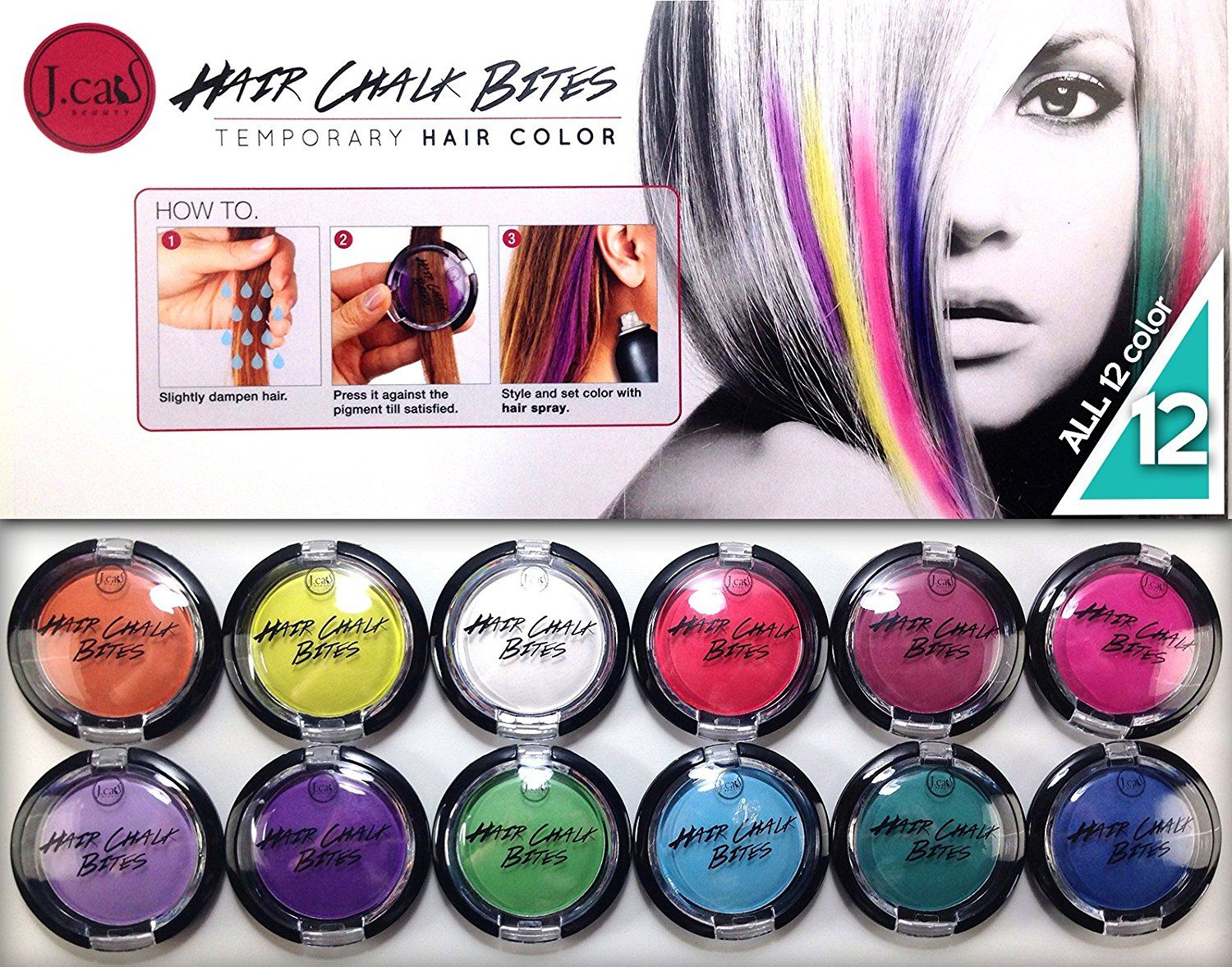 J Cat Beauty Temporary Hair Color Hair Chalk Bites Set Of 12 Premium Colors Want Additional Info Click On The Temporary Hair Color Hair Chalk Hair Color