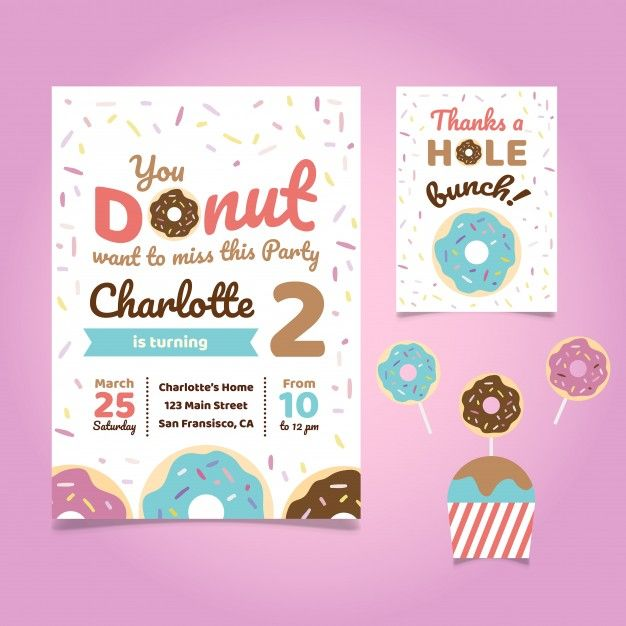 Donut Party Invitation Template Free 4