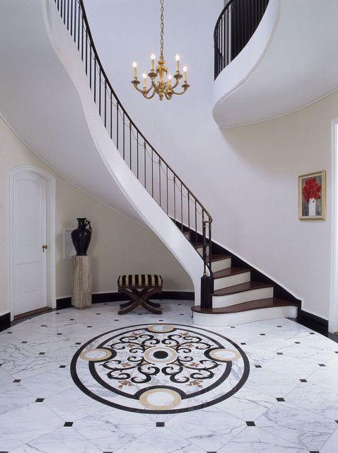 Entry Stair Hall with marble floor   traditional   Entry   New York    Felhandler  Steeneken ArchitectsCustom Marble Water Jet Medallion traditional floor tiles   Tile  . Entrance Floor Tiles Design Images. Home Design Ideas