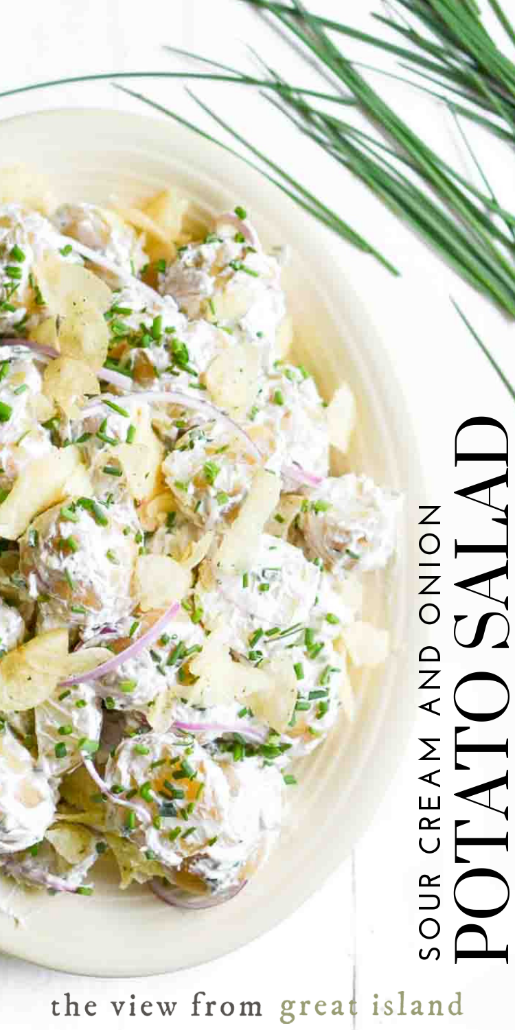 Sour Cream And Onion Potato Salad This Easy Summer Side Dish Recipe Is A Creative Mash Sour Cream Potato Salad Sour Cream Potatoes Summer Side Dishes Recipes