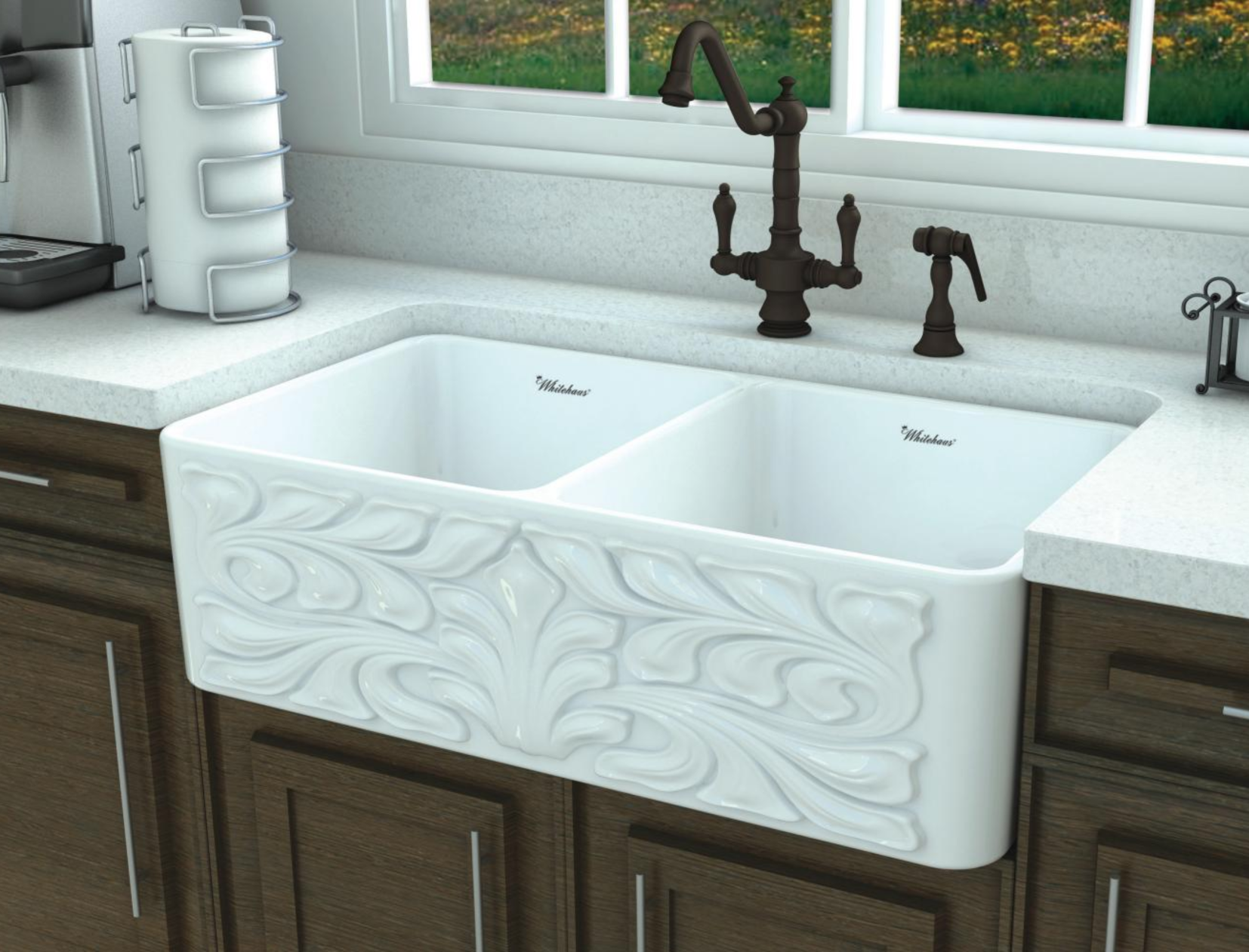 Whitehaus 33 Fireclay Double Bowl Farmhouse Apron Sink White Whflgo3318 White In 2020 Farmhouse Apron Sink Fireclay Farmhouse Sink Farmhouse Aprons