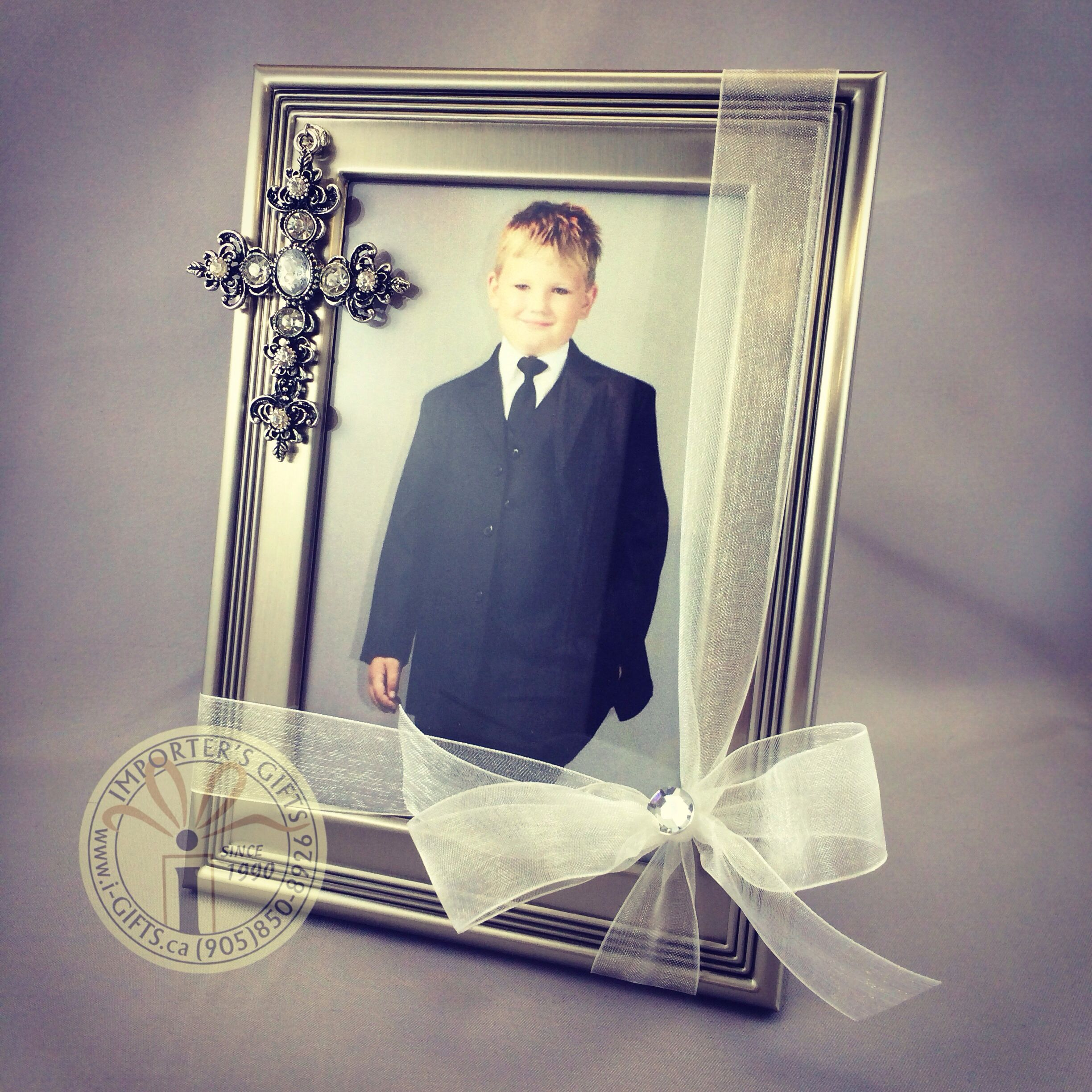 Pewter 4x6 photo frame with dangling jewelled cross. Perfect for ...