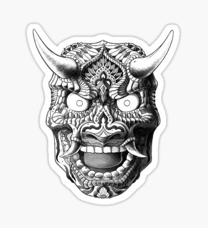 Japanese demon mask v2 sticker
