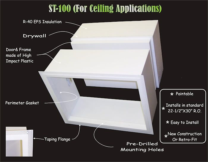 Insulated Attic Access Doors | There is a perimeter gasket to seal out the  cold drafts