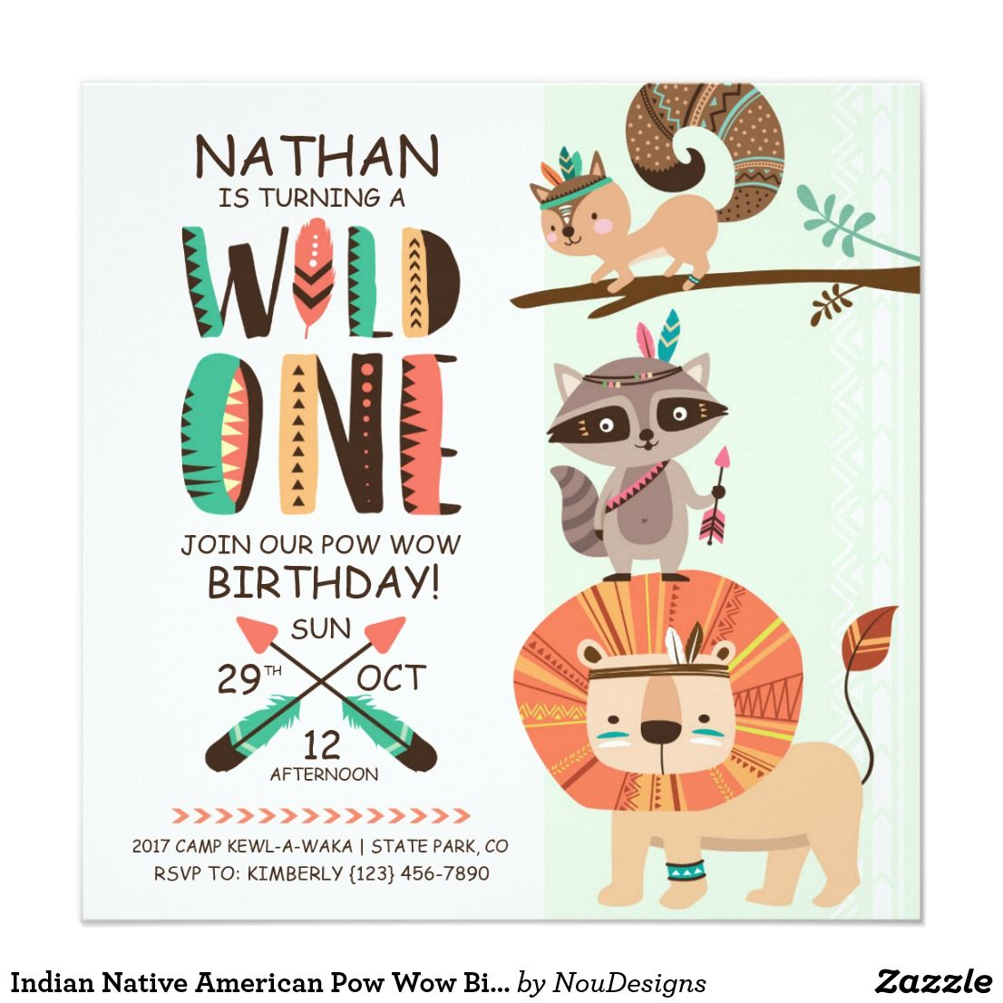 Indian Native American Pow Wow Birthday Invitation Mom And Kids