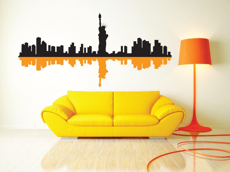 New York City Skyline & Shadow Removable Wall Art Decor Decal Vinyl ...