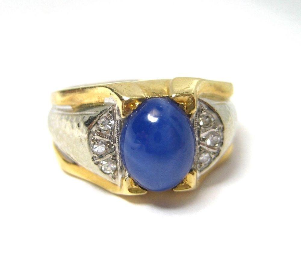 Mens Vintage 14k Gold Ring With Synthetic Lindy Star Sapphire Size 10 75 Zafiro Estrella Joyeria Zafiro