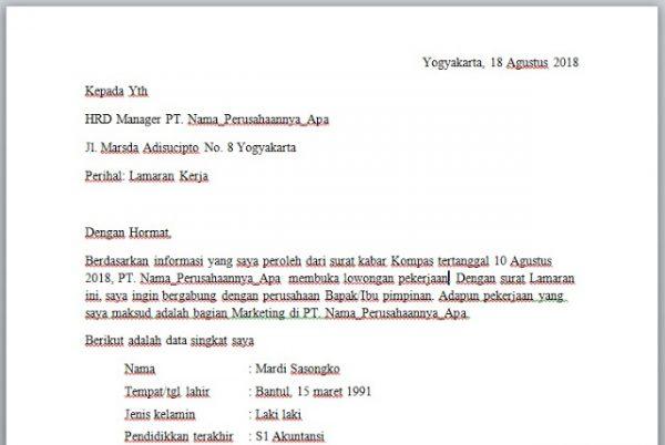 Download Contoh Surat Lamaran Kerja Resume Serbabisnis Riwayat Hidup Kerja Pimpinan