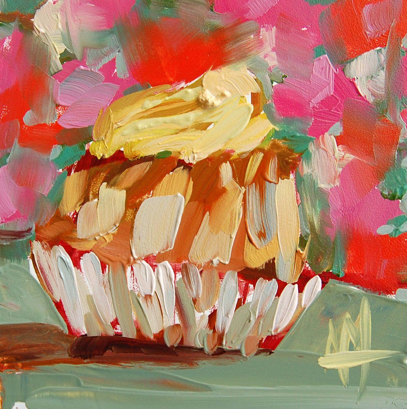 Lemon Bundt Mini Cake original sweets still life oil painting by Angela Moulton 4 x 4 inch on panel pre-order by prattcreekart on Etsy