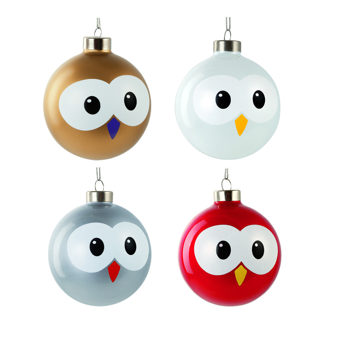 Set of 4 christmas balls PALLY design What's That