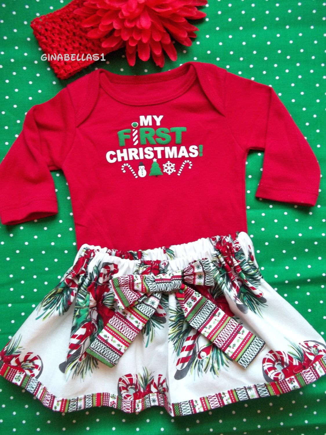 First Christmas baby girl onesie outfit candy cane dress Santa Baby ...