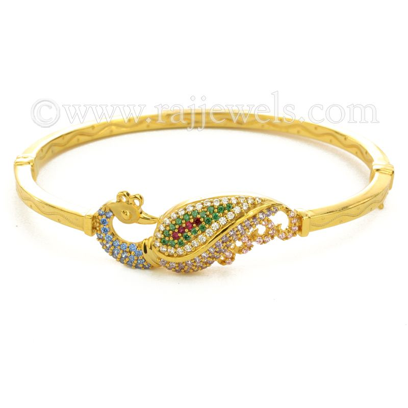 22K gold bangle bracelet in a stunning peacock design with cubic ...