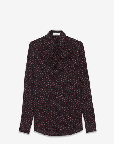 568fa546dacd4 SAINT LAURENT Bowie Lavaliere Shirt In Black And Red Polka Dot Printed  Viscose. #saintlaurent #cloth #