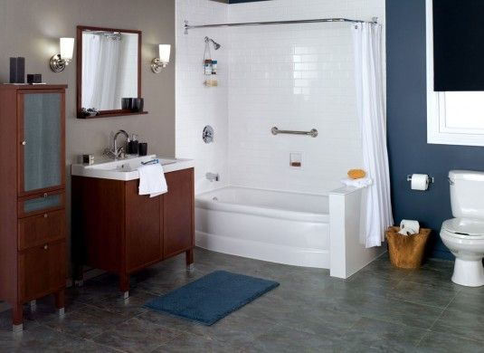 This Tub And Shower Combo With Wrap Around Curtain Rod Could Possibly Work