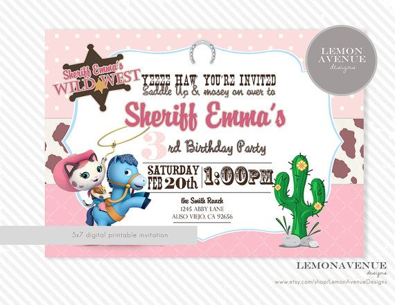 Disney Sheriff Callieu0027s Wild West Birthday by RoyaltyInvitations - publisher invitation templates free