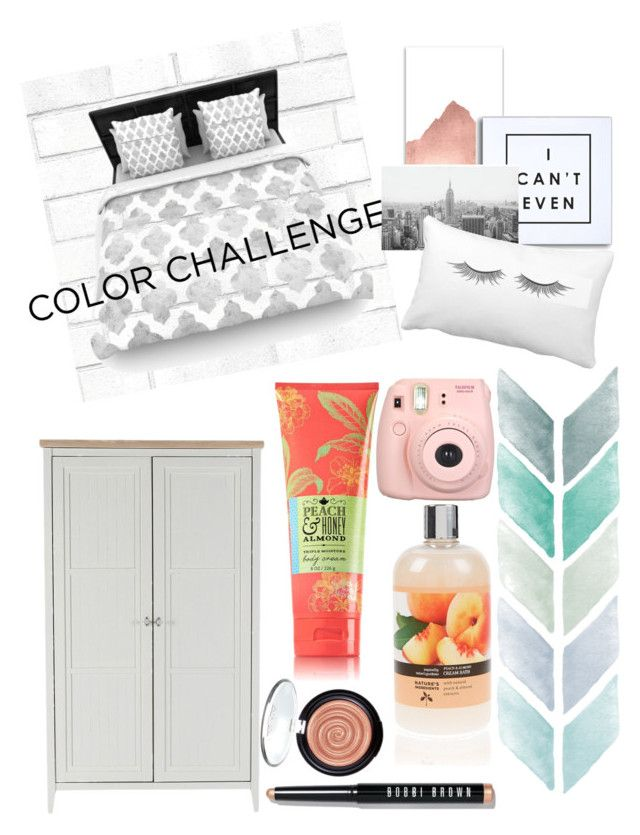 """Gray & Peach"" by kendallxoxo123 ❤ liked on Polyvore featuring interior, interiors, interior design, home, home decor, interior decorating, Tempaper, WALL, Bobbi Brown Cosmetics and Fujifilm"