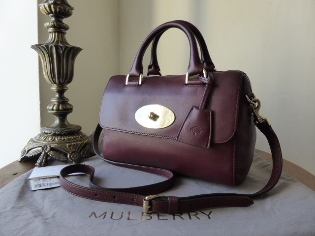 Mulberry Del Rey Smaller Sized In Oxblood Silky Na With Shiny Gold Tone Hardware Grained Lambs Leather Fabulous Rich Burgundy Shade 595