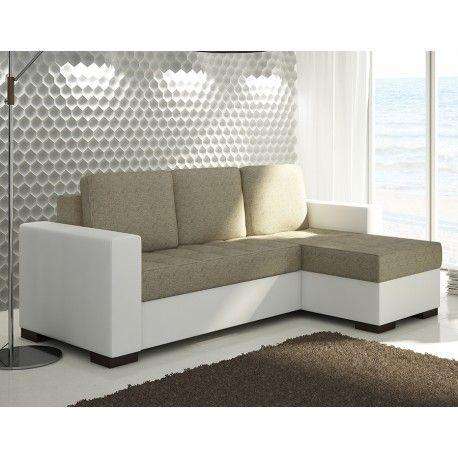 Optez Pour Le Canape D Angle Convertible Blanc Et Beige Fabrique