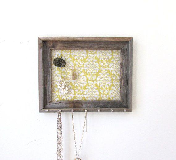 Barnwood Jewelry Organizer Frame Yellow Damask by TheHopeStack