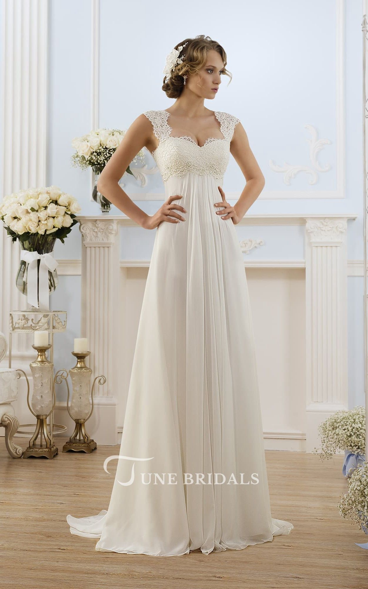 d52e75139b8a A-Line Long Cap-Sleeve Keyhole Chiffon Dress With Lace - June Bridals  Country