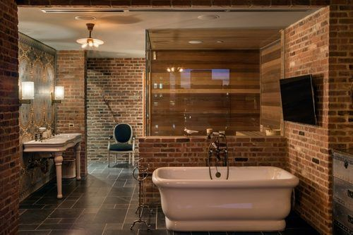 Beautiful Exposed Brick Even In The Bath In His NYC Penthouse For Sale At  The Setai Part 58