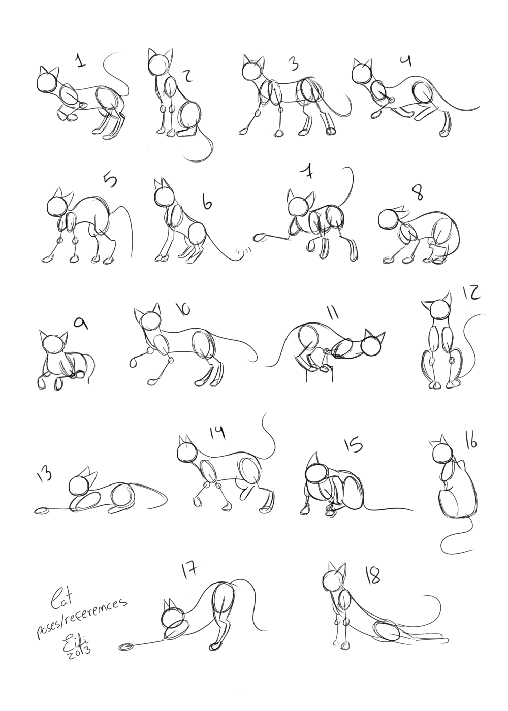 Cats poses references by eifi copper deviantart com on deviantart