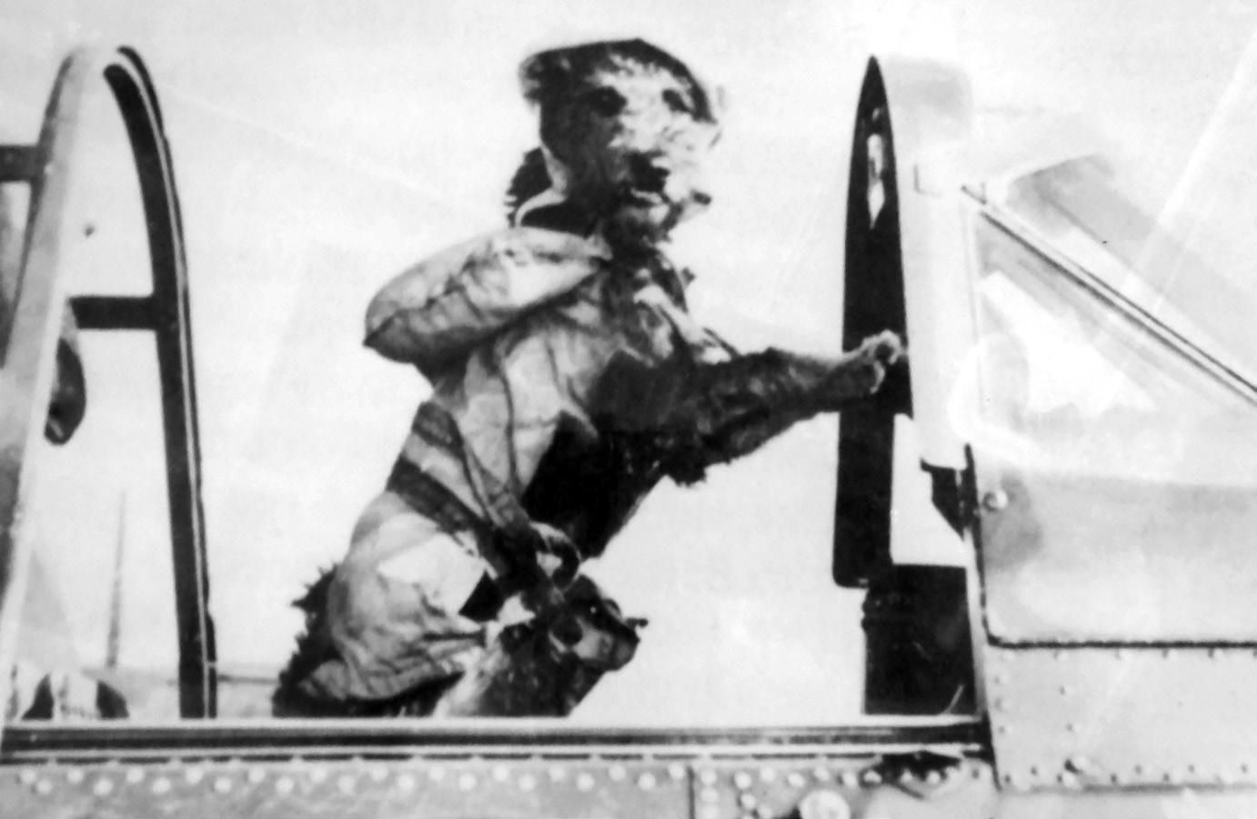 "Scrappy, the USS Yorktown's mascot, in the cockpit of one of the Yorktown's aircraft. Not long after departure in 1943, Captain Joseph ""Jocko"" Clark found a small gray dog that some of the pilots had smuggled onto the ship. The dog was dressed in a life jacket and was barking on the Flight Deck. Although the dog's name was Scrappy, the pilots told the captain, ""We call him Jock."" Apparently the quick thinking worked, and the captain allowed the dog to stay. (Courtesy of Patriot's Point)"