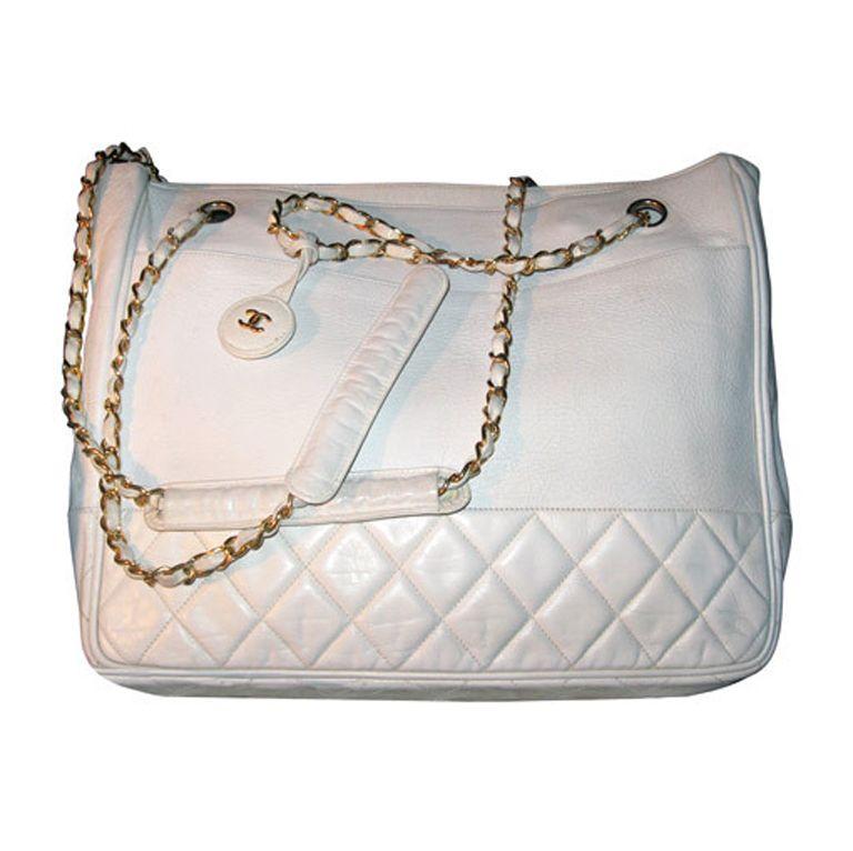 Chanel Vintage White Oversize Leather Shoulder Tote Bag Vintage Chanel Bags Shoulder Tote Bag
