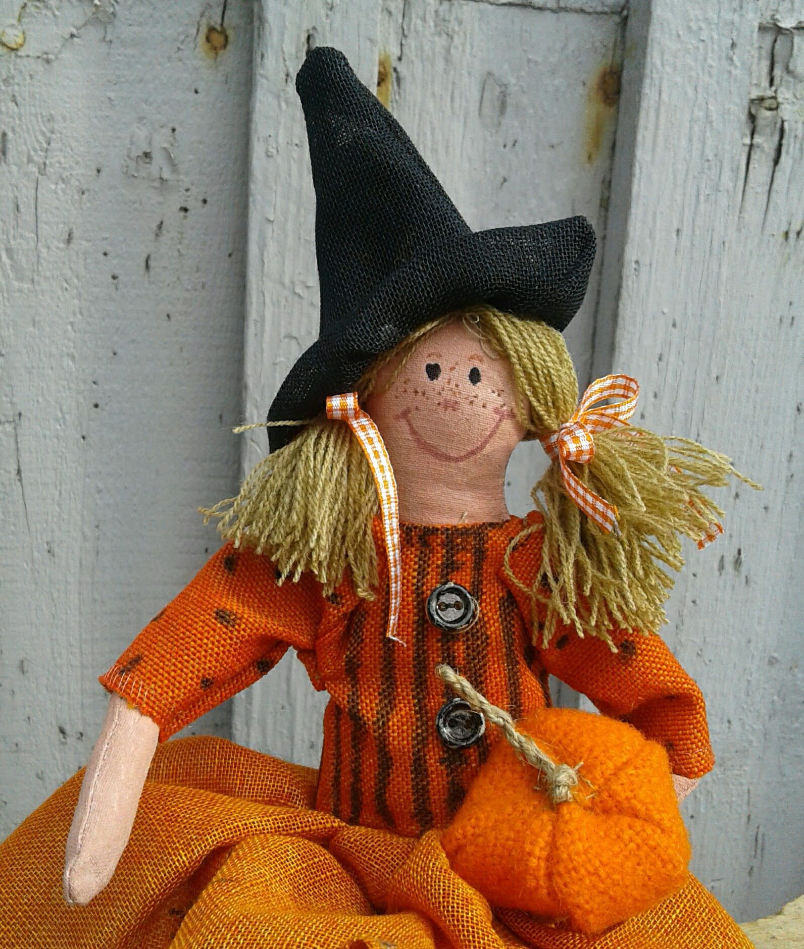 Handmade Doll - Fabric Doll - Cloth Doll - Halloween Decor - Primitive Halloween Decor