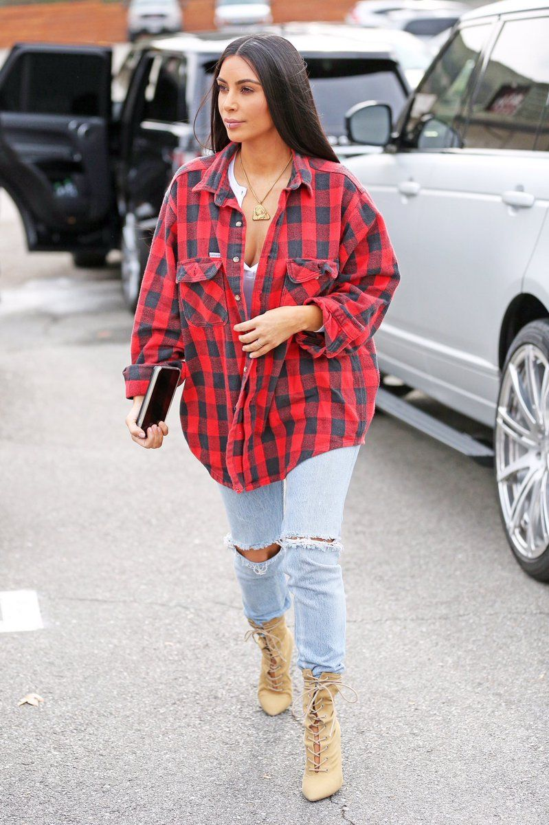 Kkw out in los angeles wearing carhartt buffalo plaid for Kim kardashian henley shirt