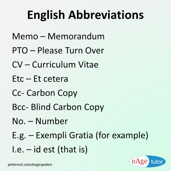 English abbreviations with images to share