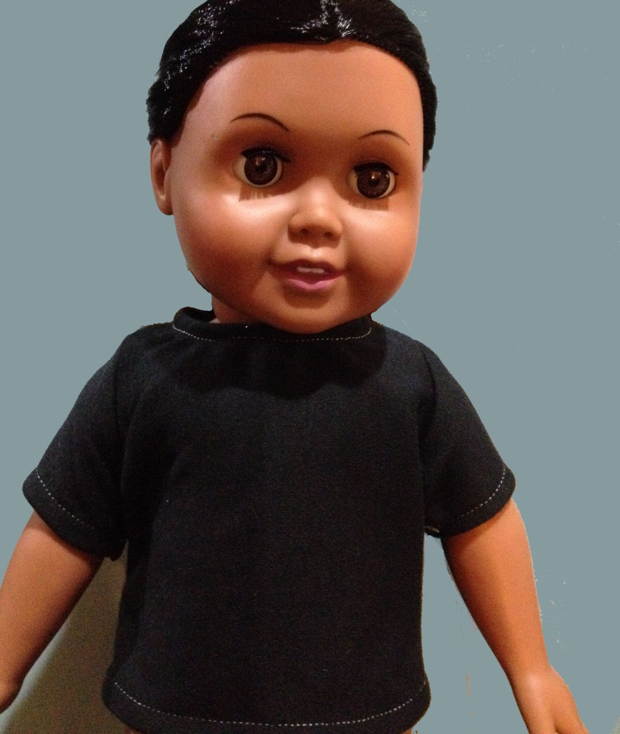 Black t shirt goes with - American Boy Doll T Shirt Inch Doll T Shirt Black Or Heather Grey Every Little Boy Doll Needs T Shirts This T Shirt Closes In The Back With Velcro For Easy