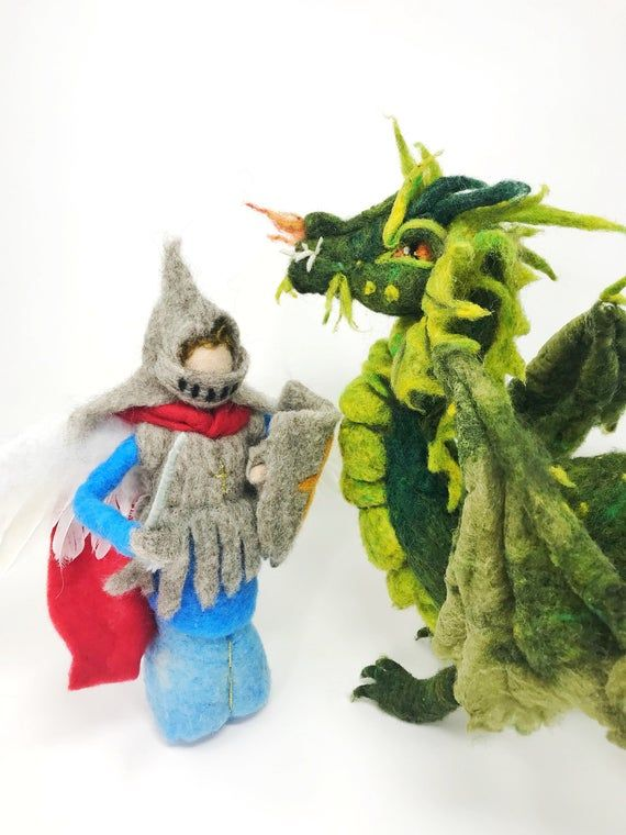Needle Felted St. Michael and The Dragon/ Waldorf Inspired/ Michaelmas/ Needle Felted Dragon/ Nature Table #feltdragon