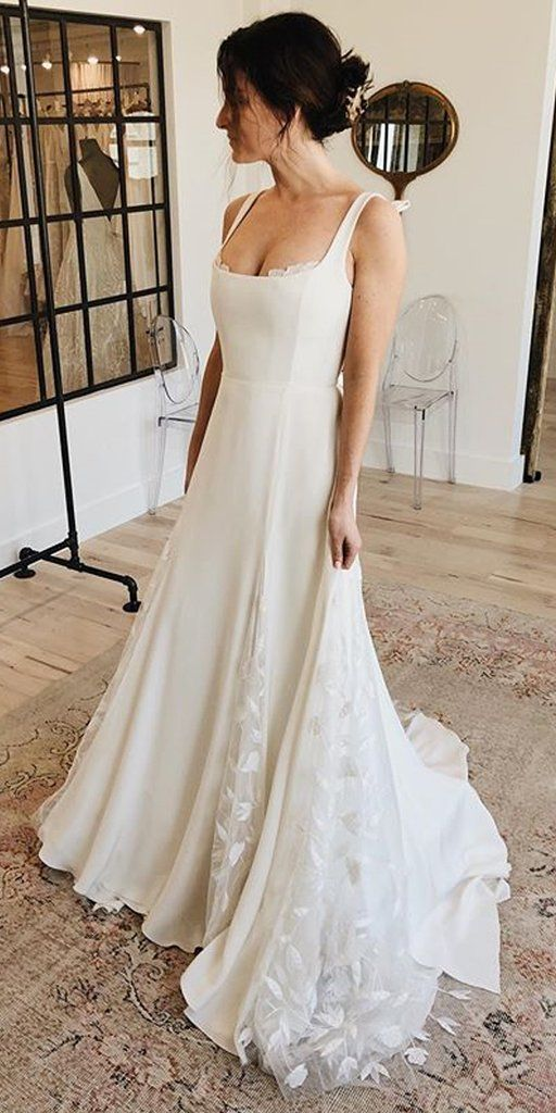 Charming A Line Square Neckline Lace Backless Wedding Dresses Fc2682 Wedding We Wedding Dress Necklines Square Neckline Wedding Dress Backless Wedding Dress