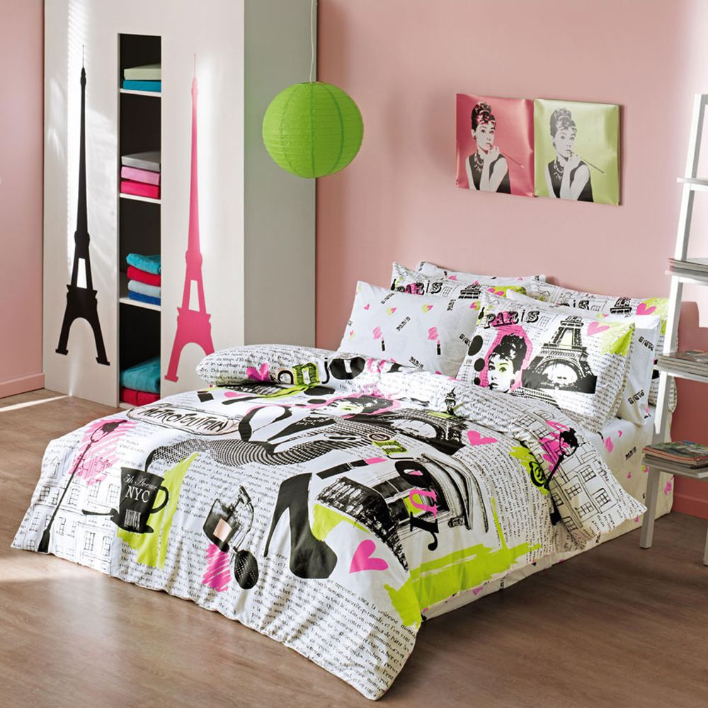 Girls Comforter Set With Modern Paris Themed Bedding