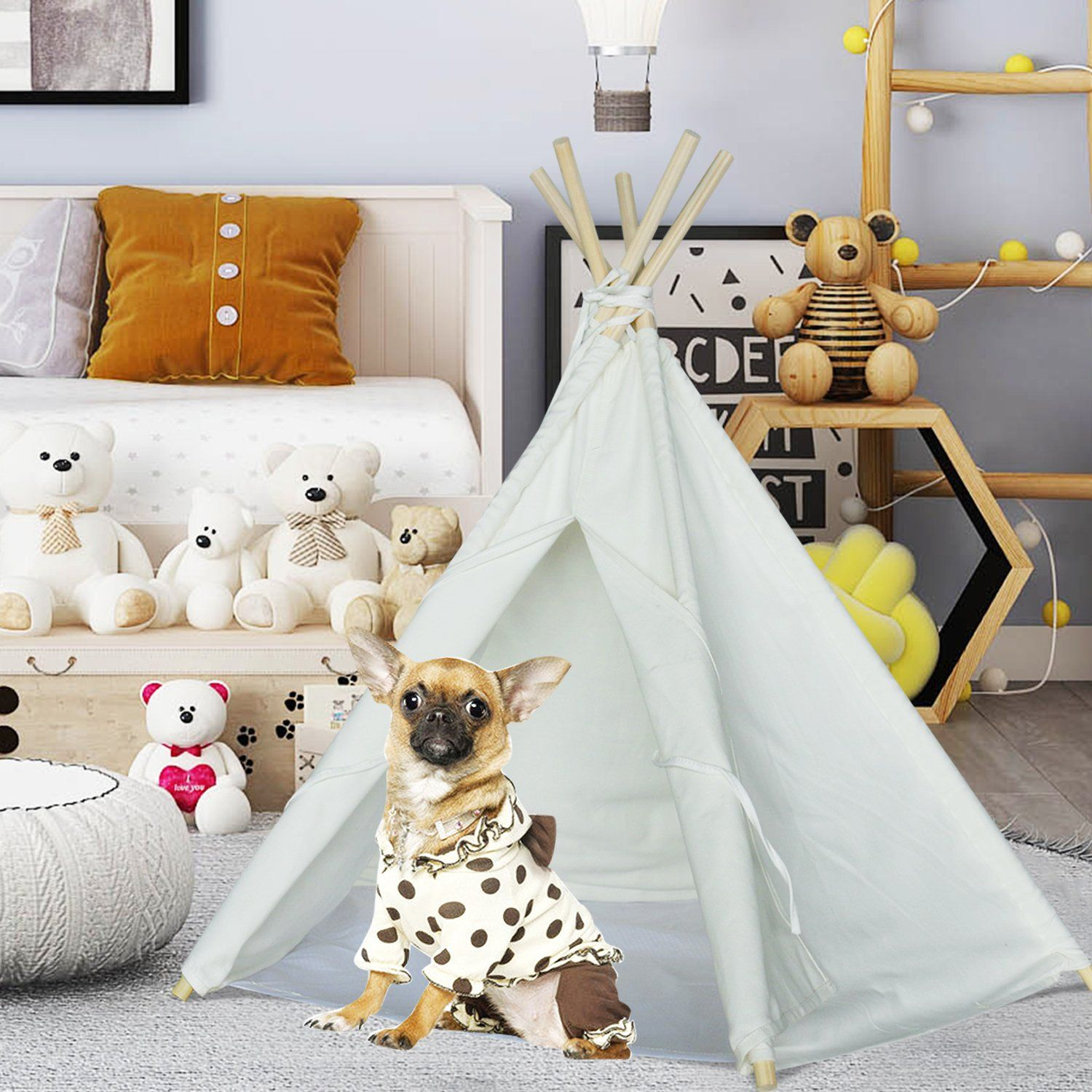 Pet teepee Tent for Dogs Puppy Cat Bed Portable White