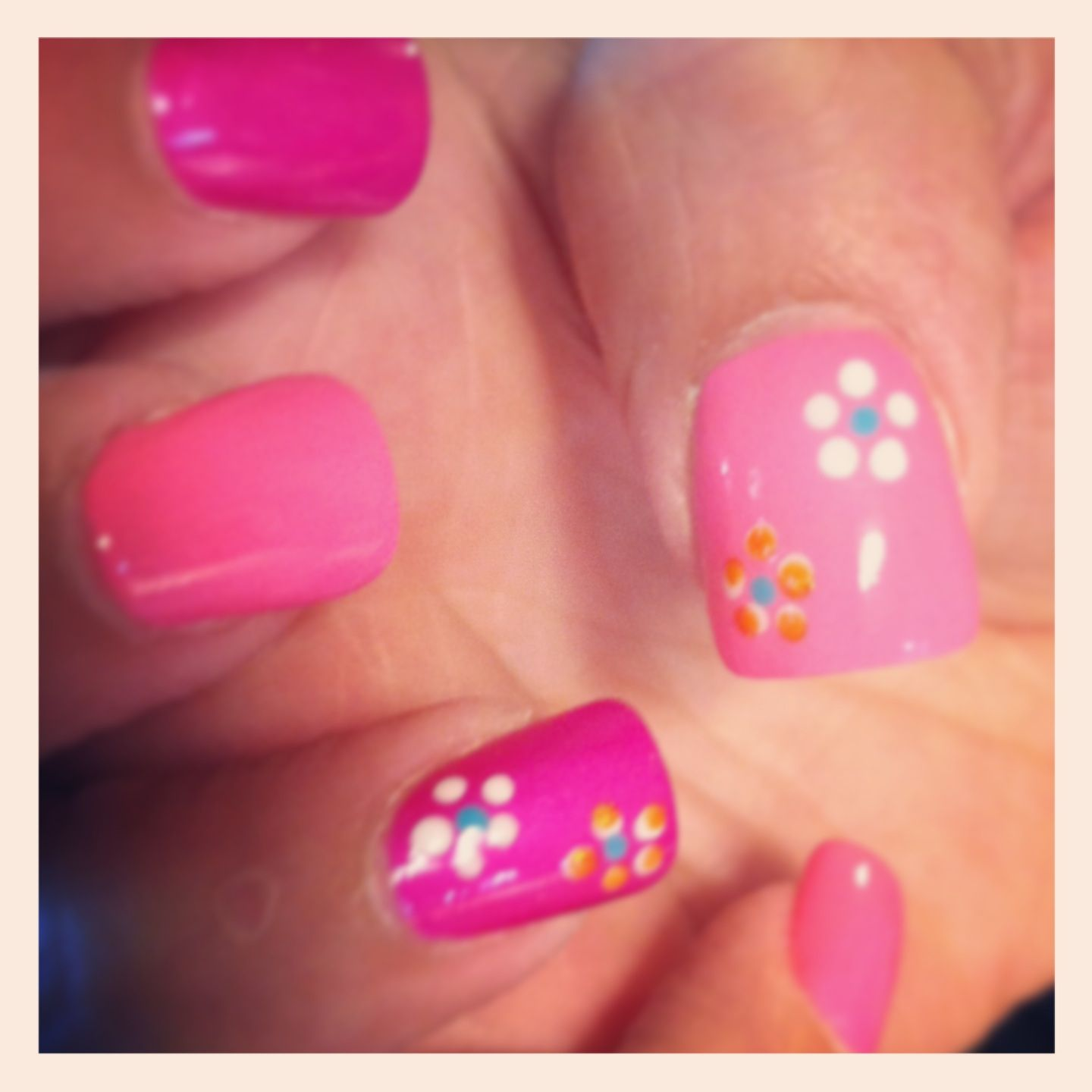 Girlie nails acrylic purple pink white flowers with orange glitter HELLO summertime ;)