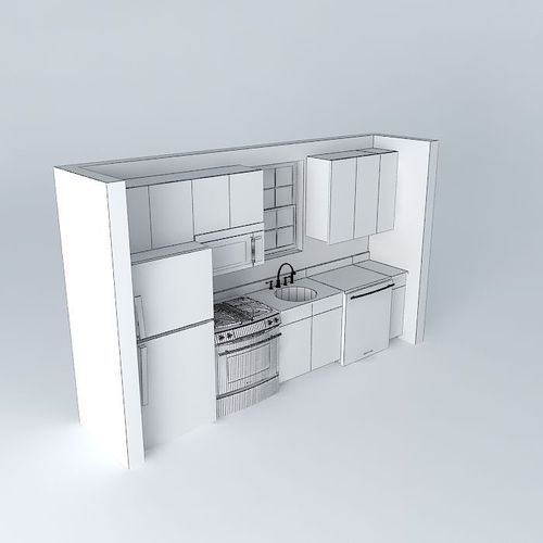 Small Galley Kitchen Floor Plans: Small One Wall Kitchen 3d Model Max Obj 3ds Fbx Stl Dae 4