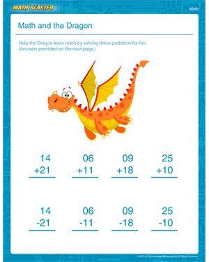 Math And The Dragon 1st Grade Math Worksheets Math Blaster 1st Grade Math Worksheets 1st Grade Math Math Worksheets