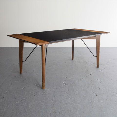 Greta Magnusson Grossman; Walnut, Formica and Enameled Metal Dining Table, 1952.