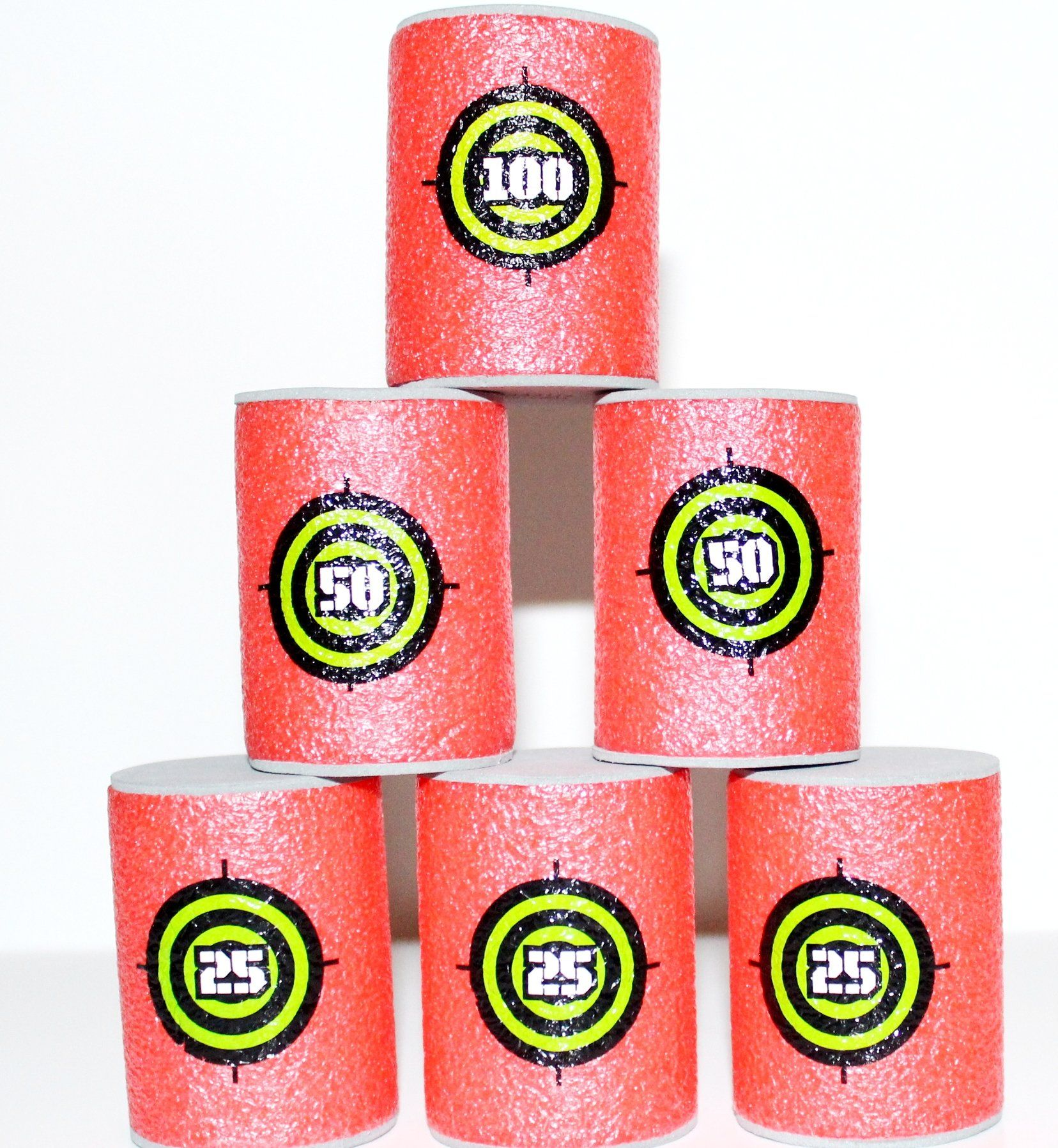 Soft Foam Target Cans 6 Pack, Compatible With Nerf Guns, Nerf
