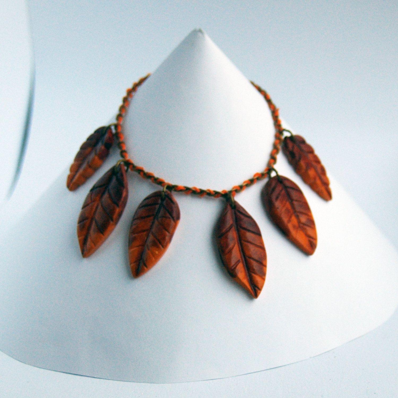 Halskette Wald, Halskette Blatt, Herbst Schmuck, Halskette ...